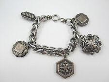 "Double Link 5 Charm Bracelet Signed Germany Silvertone Retro Vintage 7.5"""