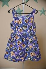 Retrolicious Modcloth Space Kitty Purple Galaxy Cat Pocket Dress Women's size M