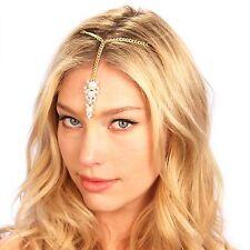 Gold Pearl Tikka Grecian Crystal Chain Headpiece Headband Bridal Hair Piece