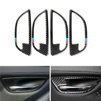 4*M Strip Carbon Fiber Interior Door Handle Bowl Cover For BMW 5 Series F10 F18