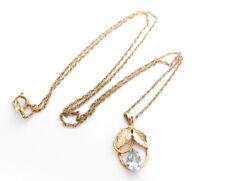 Vintage Signed Vandell 14/20 GF Gold Filled Aqua Flower Pendant Necklace A906