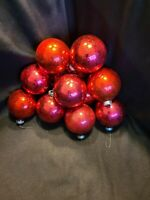 """12 Vintage Large 2 1/2"""" Coby Christmas Red Tree Ornaments, Original Box #3"""