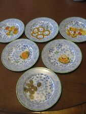 """Isabelle de Borchgrave design for Marshall Fields. Set of six 6"""" canape plates"""