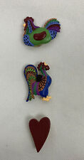 Lot of 3 Vintage Rooster Theme Button Covers Red Heart Multicolored Roosters