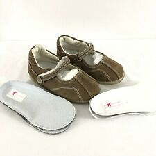 PreSchoolians Toddler Girls Flats Mary Janes Leather Insoles Brown 24 US 8