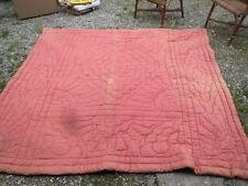ancienne couverture piquée laine rose bleu indigo toile matelas biaude paysan