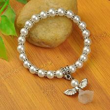 Lovely Wedding Dress Angel Stretch  Bracelet Glass Pearl Beads(JB00727)