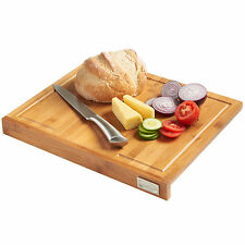 VonShef Large Bamboo Wooden Food Cutting Chopping Board with Counter Edge