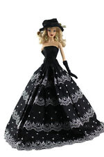 Doll's Dress Black Gown Princess Wedding Clothes For Barbie Doll Dress+Hat