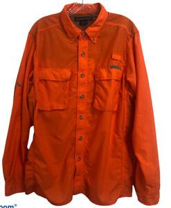 EXOFFICIO Mens Sz M Long Sleeve Vented  Fishing Camping Hiking Orange Shirt
