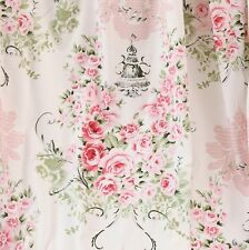1 Yard 100% Cotton Shabby Chic White Pink Floral Flower Rose Fabric S213