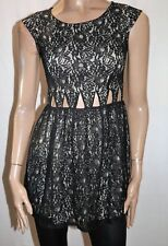 CHICABOOTI Brand Black Sleeveless Waist Cut Outs Skater Dress Size 8 BNWT #SR79