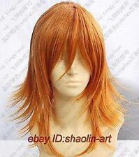 Haute qualité orange Moyen raide animation Cosplay fête plein cheveux perruques