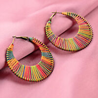 Vintage Bronze Bohemian Rainbow Style Hook Ethnic Women Stud Earring Jewelry