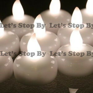 12 LED Warm White Floating Flickering Tea Candle Waterproof Wedding Floral Vase