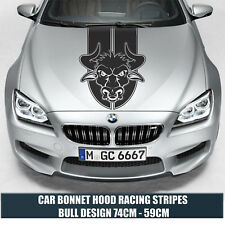 CAR BONNET HOOD RACING STRIPES  BULL DESIGN Cars Stickers Funny Graphics Decal