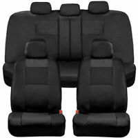 BDK Two-Tone Full Set PU Leather Front & Rear Car Seat Covers - Black