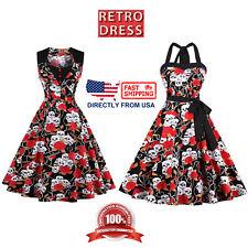 Women's Retro Dress, Halloween Costume Party Gothic Skull and Rose Midi Dress