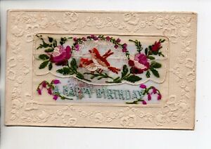 Embroidered Silk - Happy Birthday with insert