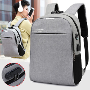 "16"" Laptop Men Multifunction Backpack Anti-Theft USB Charging Outdoor Travel Bag"