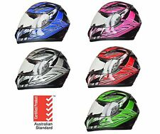 NEW FULL FACE MOTORCYCLE HELMET ADULT SIZES XS, S, M, L, XL 5 tick approved FULL