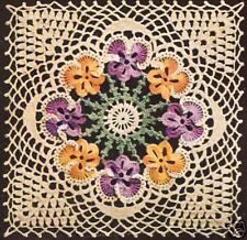Vintage Crochet PATTERN to make Pansy Motif Bedspread Block Square