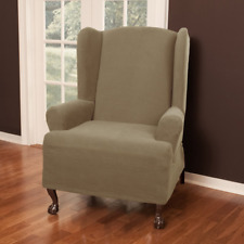 Maytex Pixel Ultra Soft Stretch Wing Back Arm Chair Furniture Cover Slipcover,