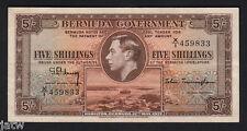 BERMUDA P-8. 1937 5 Shillings.. George VI Portrait... X/1 Prefix