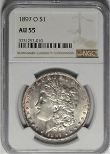 1897-O $1 NGC AU 55 Choice Almost Uncirculated Morgan Silver Dollar Coin
