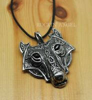 Antique Silver Plt Ornate Wolf Face Pendant Necklace, Ladies Mens Viking Norse
