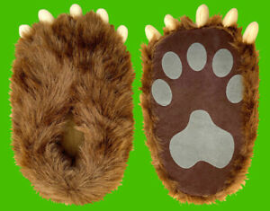 Bear Costume Paw Slippers / Fits Adult Ladies Shoe Size 5 To Men's Shoe 9 1/2
