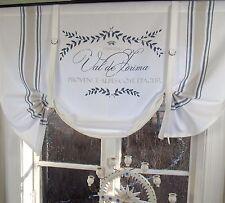 Raff Gardine MAJE BLAU Rollo 100x90 weiß LillaBelle Shabby Landhaus Curtain