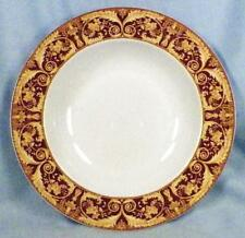 Lynns China Valetto Red Soup Bowl Yellow Tan Scrolls Rimmed Dinnerware