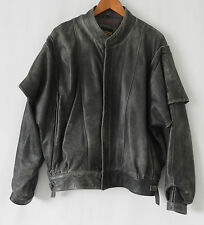 Brassrail Lambs Leather Jacket Wing Shoulder Full Zip Distressed Gray Size L
