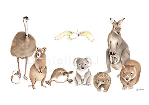 A3 Australian Animals Print - watercolour nursery prints, cute animal art