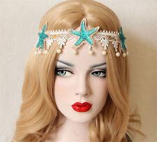 Mermaid Starfish Headband Wedding Headpiece Lace Seaside Pearl Forehead Crown