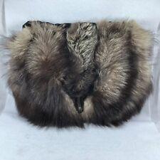 Silver Fox Fur Muff Hand Warmer Purse With Head Vintage
