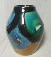 Mingei Japanese Folk /Studio Pottery Pot / Vase Signed Mid Century Colorblock