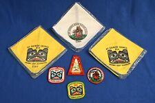 Hahobas Reservation, 3 Neckerchiefs, 4 patches 1972-1975 Mt Rainier Council NIP