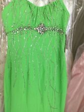 Landa prom pageant beaded chiffon Lime green dress with sweep train size 4 NWT