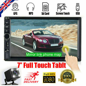 "7"" Bluetooth Double Din Car Stereo Radio USB AUX TF IOS/Android MP5 Player + Cam"