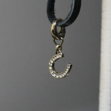 Fossil Horse Shoe Charm Gold Tone Good Luck Wedding Gift Bag Bride Crystals VGC
