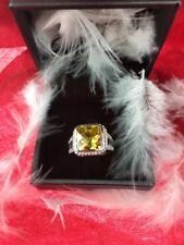 Gc GUESS 925 Sterling Silver Beautiful Yellow Gemstone & CZ Ring (SZ 7)