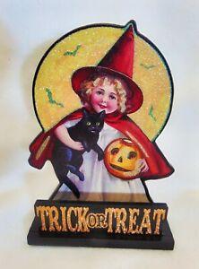 "Halloween Fall Witch Black Cat Bats Block Sign Trick or Treat Glitter 9X6"" Hat"