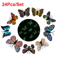 24X Luminous At Night 3D Butterfly Wall Stickers Home DIY Family Art Decoration