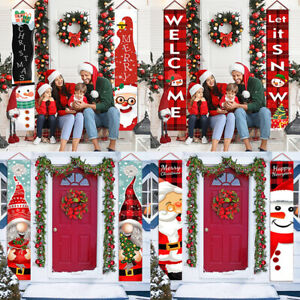 2Pcs Merry Christmas Outdoor Banner Hanging Sign Home Xmas Decoration Ornaments