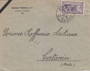 SYRIA  1922  SINGLE FRANKING COVER FROM DAMAS TO CATANIA ITALY