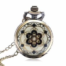 Antique Style White Jade Crystal Quartz Mini Pocket Watch Chain Women Xmas Gift