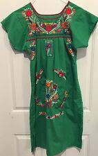 """vtg 70s Oaxacan Mexican Dress Floral Embroidered Boho Hippie Festival Chest 32"""""""