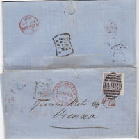 1868 QV MANCHESTER COVER WITH A SUPERB 6d MAUVE STAMP (TAB) SENT TO VIENNA HS 2d